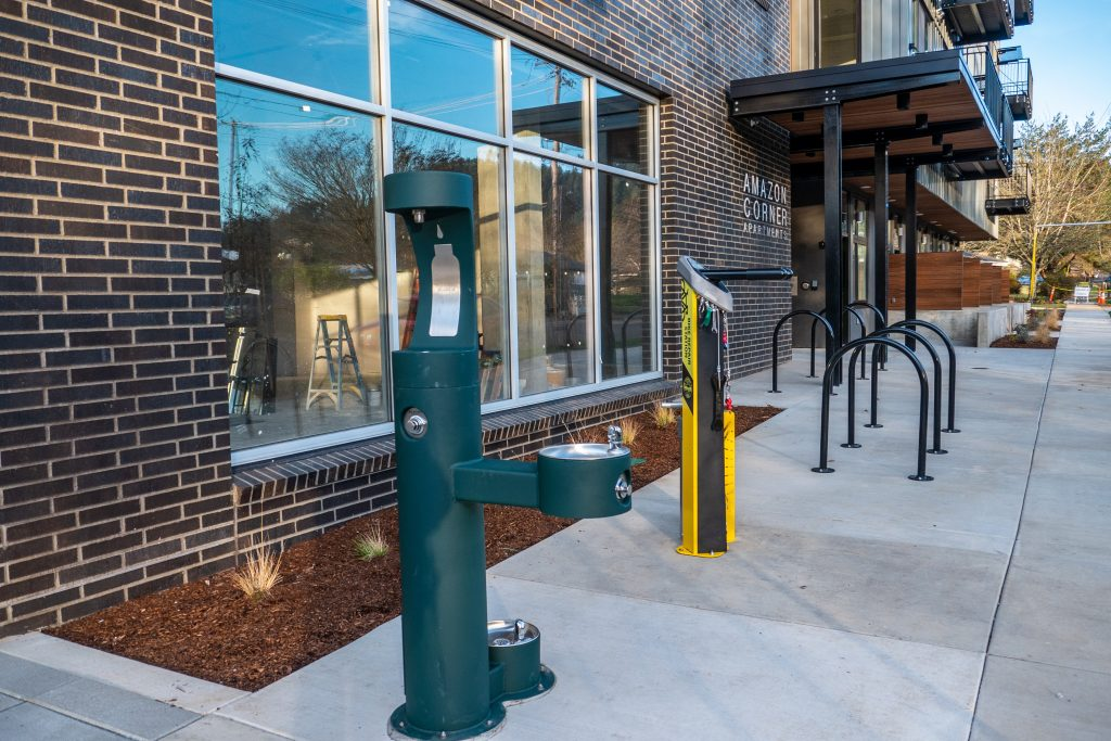 pet drinking fountain and bike repair station